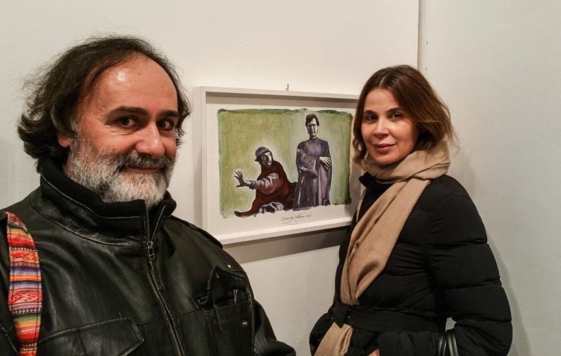 Andrea Samaritani con la curatrice Sabrina Colle