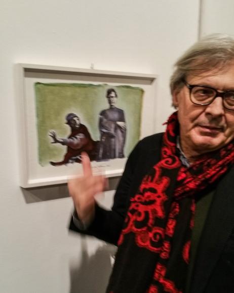 Vittorio Sgarbi e la fotodipinta di Andrea Samaritani che lo ritrae in mostra a pesaro 2017 (2)