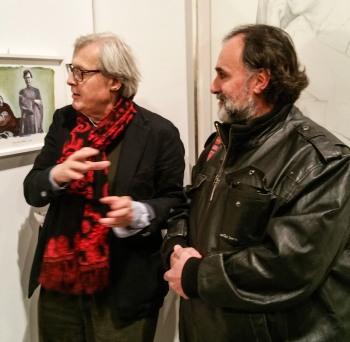 Vittorio Sgarbi e la fotodipinta di Andrea Samaritani che lo ritrae in mostra a pesaro 2017 (5)